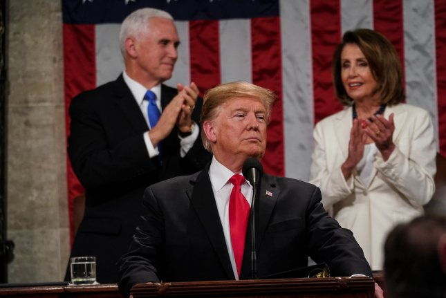 House Speaker Nancy Pelosi and Vice President Mike Pence applaud as President Donald Trump delivers his second State of the Union address at the U.S. Capitol on February 5, 2019. File Photo by Doug Mills/UPI