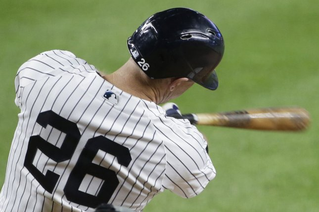 New York Yankees second baseman D.J. LeMahieu went 2 for 4 with two RBIs in a win over the Tampa Bay Rays on Tuesday in New York City. Photo by John Angelillo/UPI