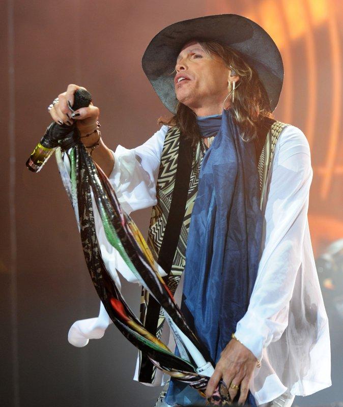 American singer Stephen Tyler performs with Aerosmith at 02 Arena in London on June 15, 2010. UPI/Rune Hellestad