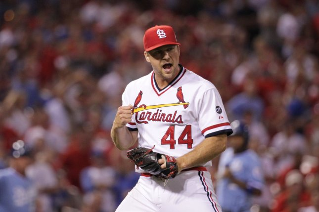 St. Louis Cardinals pitcher Trevor Rosenthal pumps his fist and gives out a yell as the third out is made against the Kansas City Royals as the Cardinals hang on to defeat the Royals 4-3 at Busch Stadium in St. Louis on July 23, 2015. Photo by Bill Greenblatt/UPI