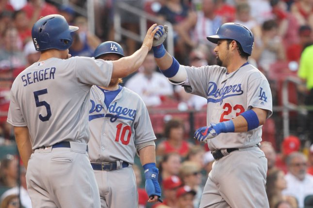 Los Angeles Dodgers' Adrian Gonzalez is congratulated at home plate after hitting a grand slam home run in the first inning against the St. Louis Cardinals at Busch Stadium in St. Louis on July 24, 2016. Photo by Bill Greenblatt/UPI