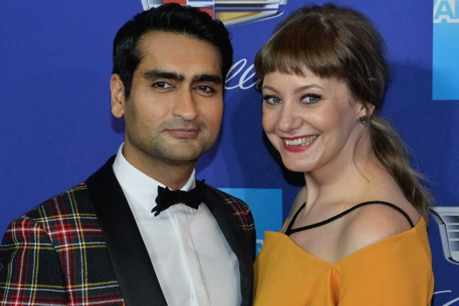 Kumail Nanjiani (L) pictured here with his wife Emily V. Gordon (R). Nanjiani ate brussels sprouts after losing a bet to filmmaker Edgar Wright. File Photo by Jim Ruymen/UPI