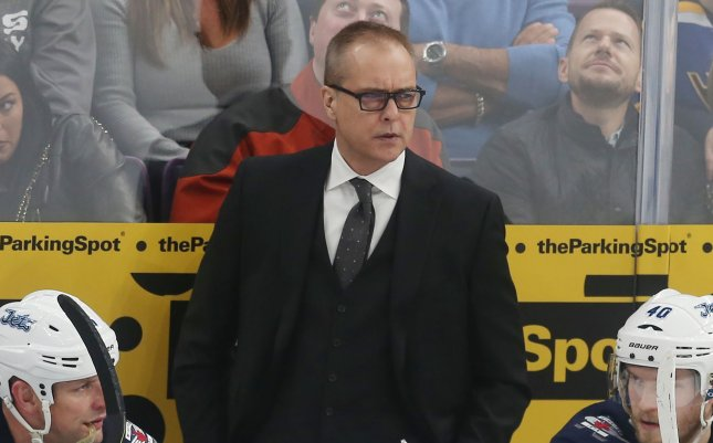 Coach Paul Maurice and the Winnipeg Jets look to avoid elimination against the Vegas Golden Knights in the Stanley Cup Playoffs on Sunday. Photo by Bill Greenblatt/UPI