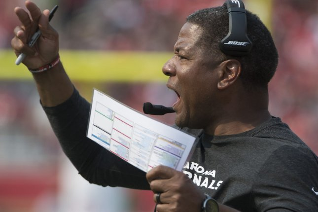 Head coach Steve Wilks leads his Arizona Cardinals against the Detroit Lions on Sunday. Photo by Terry Schmitt/UPI