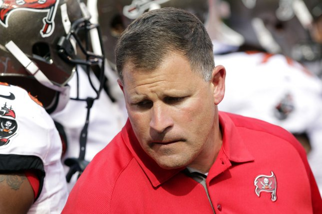 Former Tampa Bay Buccaneers head coach and New England Patriots defensive coordinator Greg Schiano stepped down from the coaching staff Thursday. The Patriots hired him in February to replace Brian Flores. File Photo by John Angelillo/UPI