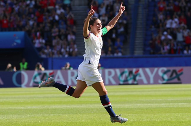 United States Women's National Team forward Carli Lloyd, shown June 16, 2019, scored 128 international goals and won two Olympic gold medals. File Photo by David Silpa/UPI