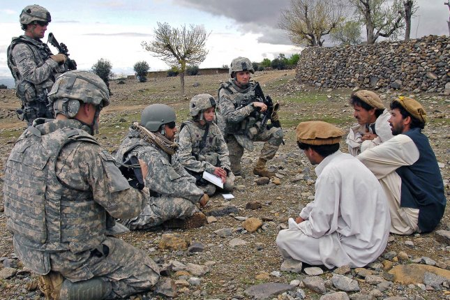 U.S. Soldiers conduct a key leader engagement at Shabow-Kheyl, Afghanistan on April 8, 2009. (UPI Photo/Christopher T. Sneed/U.S. Army)