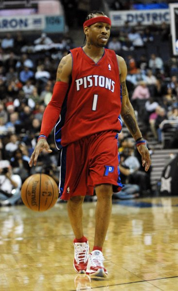 Detroit Pistons Allen Iverson takes the ball down court against the Washington Wizards in 2008. Iverson is named to the 2016 Basketball Hall of Fame class. (File photo by Alexis C. Glenn/UPI