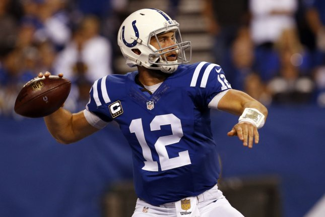 Indianapolis Colts quarterback Andrew Luck (12). Photo by John Sommers II/UPI