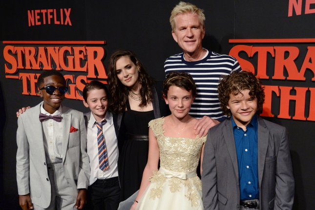 Cast members Caleb McLaughlin, Noah Schnapp, Winona Ryder, Matthew Modine, Millie Brown and Gaten Matarazzo (L-R) attend Netflix's supernatural mystery thriller Stranger Things at Mack Sennett Studios in Los Angeles on July 11, 2016. McLaughlin, Brown and Matarazzo appeared on The Tonight Show Wednesday where they were confronted by a vengeful Barb and Jimmy Fallon dressed as Steve Harrington. File Photo by Jim Ruymen/UPI