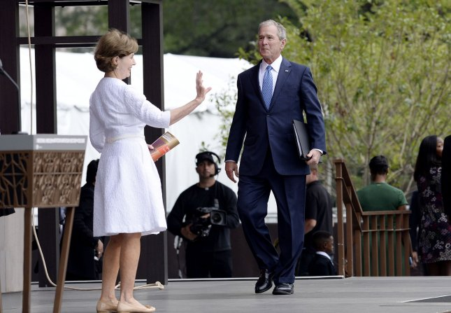 Former U.S President George W. Bush and former First Lady Laura Bush, pictured attending the opening ceremony of the Smithsonian National Museum of African American History and Culture on September 24, did not vote for president in this year's election because they did not support either Donald Trump or Hillary Clinton. Pool Photo by Olivier Douliery/UPI