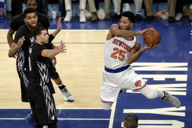 b6eee63fab7b New York Knicks Derrick Rose (25) leaps under the basket to pass the  basketball in the second quarter against the Minnesota Timberwolves at Madison  Square ...