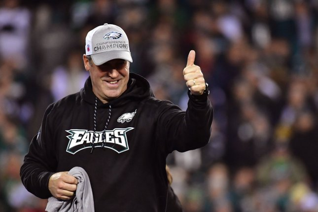 Philadelphia Eagles head coach Doug Pederson celebrates after the Eagles defeated the Minnesota Vikings to win the NFC Championship on January 21, 2018 at Lincoln Financial Field in Philadelphia. Photo by Kevin Dietsch/UPI