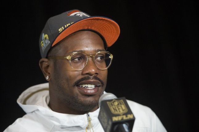 Denver Broncos linebacker Von Miller speaks to the media on February 2, 2016 in Santa Clara, California. File photo by Kevin Dietsch/UPI