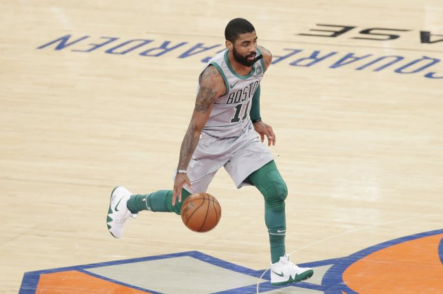 Boston Celtics guard Kyrie Irving tied a season-high with 31 points on Monday against the Denver Nuggets. Photo by John Angelillo/UPI