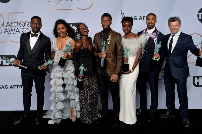 The cast of the Black Panther film left to right, Sterling K. Brown, Angela Bassett, Lupita Nyong'o, Chadwick Boseman, Danai Gurira, Michael B. Jordan, and Andy Serkis. Serial Box is set to release a audiobook and e-book series based on the characters Black Panther and Thor. File Photo by Jim Ruymen/UPI.
