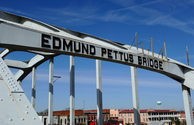 The Edmund Pettus Bridge is shown during the 50th anniversary of the Selma to Montgomery, Alabama, march weekend in Selma, Alabama, March 6, 2015. Hillary Clinton and a group of 2020 Democratic hopefuls attended the annual event on Sunday. File Photo by David Tulis/UPI