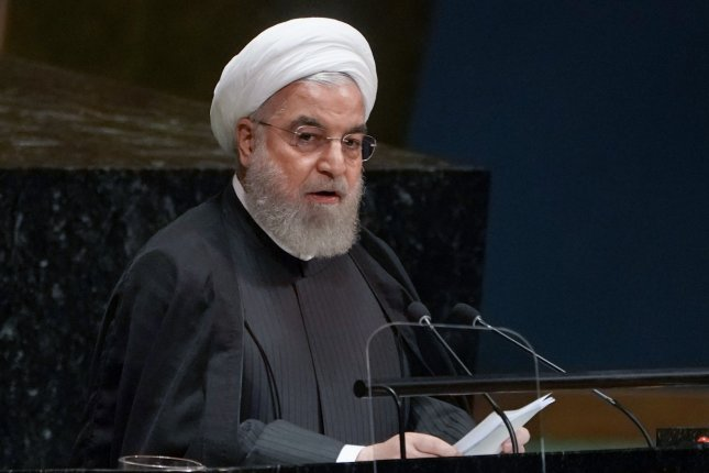 Iranian President Hassan Rouhani said in a speech Wednesday France, Britain and Germany have exposed their troops to danger in the Middle East. File Photo by Jemal Countess/UPI