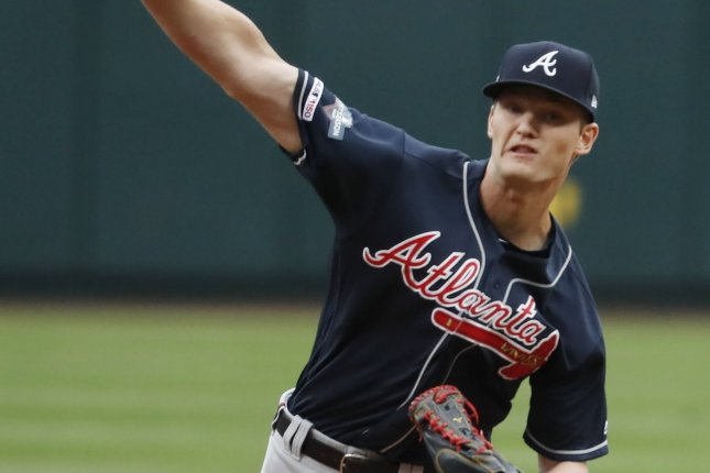 Atlanta Braves ace Mike Soroka was making his third start of the season Monday. He entered the game with a 1.59 ERA and eight strikeouts across 11 1/3 innings. Pool Photo/UPI