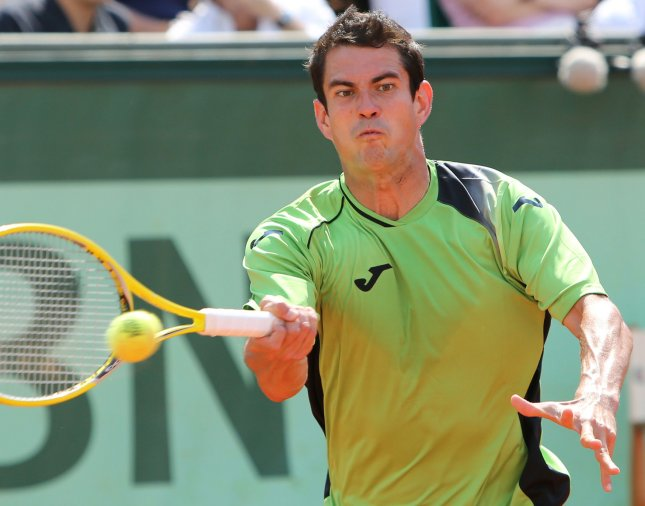 Guillermo Garcia-Lopez. shown at the 2012 French Open, picked up a three-set win Monday in one of the first matches of the St. Petersburg Open. UPI/David Silpa