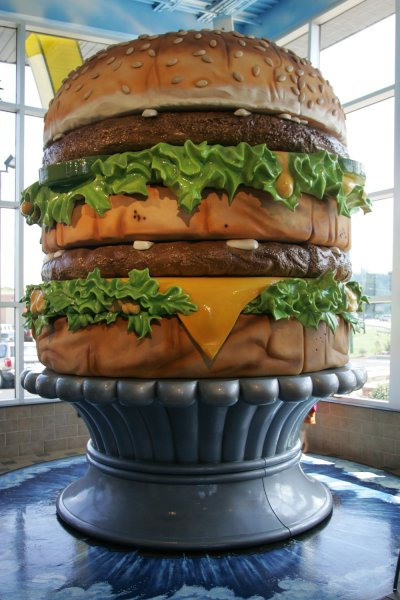A 14 feet tall and 12 feet wide sculpture of a Big Mac sandwich is on display at the Big Mac Museum in North Huntingdon, Pennsylvania on August 27, 2007. The museum honors McDonald's famous Big Mac sandwich which was first introduced in 1967 by McDonald's franchise owner Jim Delligatti in Uniontown, Pennsylvania. (UPI Photo/Stephen Gross)