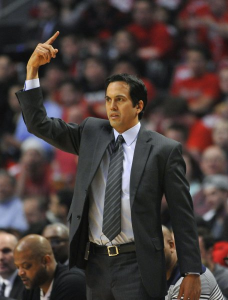 Miami Heat head Coach Erik Spoelstra at the United Center in Chicago, May 13, 2013. UPI/Brian Kersey