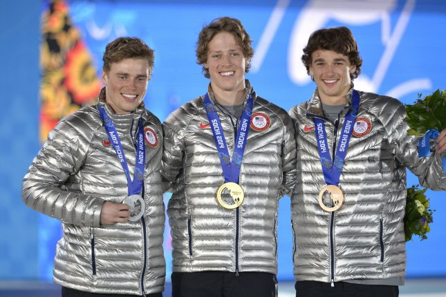 United States' Gus Kenworthy, Joss Christensen and Nicholas Goepper pose with their silver, gold and bronze medals during the victory ceremony for freestyle men's ski slopestyle at the Sochi 2014 Winter Olympics on February 13, 2014 in Sochi, Russia. UPI/Brian Kersey