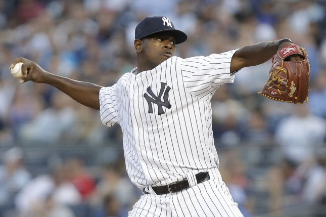 New York Yankees starting pitcher Luis Severino throws a pitch. File photo by John Angelillo/UPI