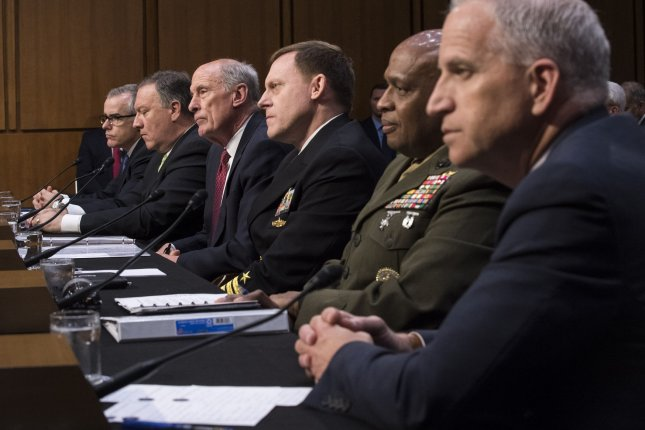 U.S. intelligence chiefs testified Thursday before the Senate Intelligence Committee as part of its Russia inquiry. From left to right are Deputy FBI Director Andrew McCabe, CIA Director Michael Pompeo, DNI Dan Coats, NSA head Michael Rogers, DIA chief Vincent Stewart and NGA Director Robert Cardillo. Photo by Kevin Dietsch/UPI