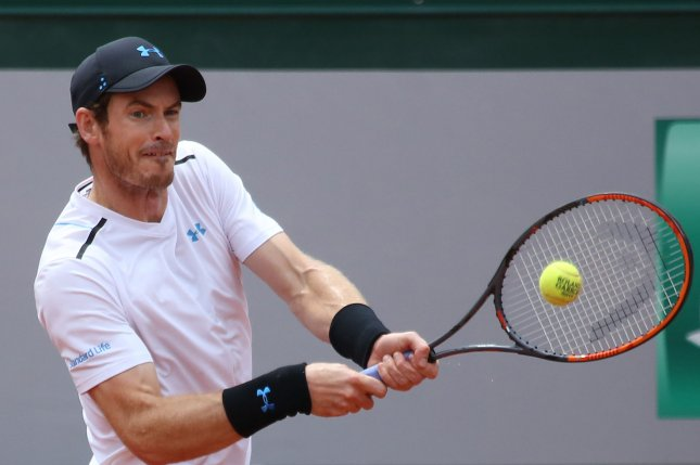 Andy Murray of the United Kingdom hits a shot during his French Open men's third round match against Juan Martin Del Potro of Argentina at Roland Garros in Paris on June 3, 2017. Murray defeated Del Potro 7-6 (8), 7-5, 6-0 to advance to the fourth round. Photo by David Silpa/UPI