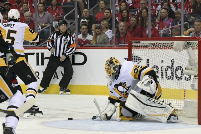 Pittsburgh Penguins goalie Marc-Andre Fleury (29) makes a save in the first period against Washington Capitals left wing Alex Ovechkin (8) at the Verizon Center in Washington, D.C. on May 10, 2017, in game seven of the second round of the Stanley Cup Playoffs. The Pittsburgh Penguins defeated the Washington Capitals, 2-0 to advance to the Eastern Conference Finals. Photo by Mark Goldman/UPI