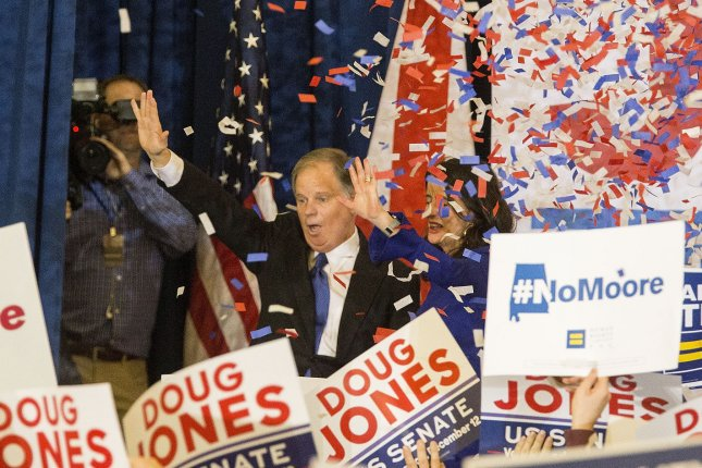 A surprised Democratic Senatorial candidate Doug Jones comes on stage at his election night rally after winning the Senate seat on December 12, 2017 in Birmingham, Alabama. Jones defeated the Republican candidate Judge Roy Moore in the special Senate election. Photo by Mark Wallheiser/UPI