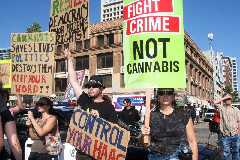 Pro-medical marijuana demonstrators rally in Oakland, California. File Photo by David Yee/UPI