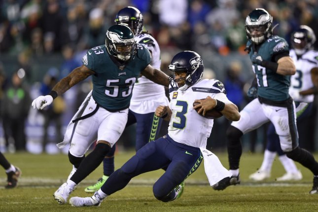 Philadelphia Eagles linebacker Nigel Bradham (53) was scheduled to earn a base salary of $8 million in 2020. File Photo by Derik Hamilton/UPI