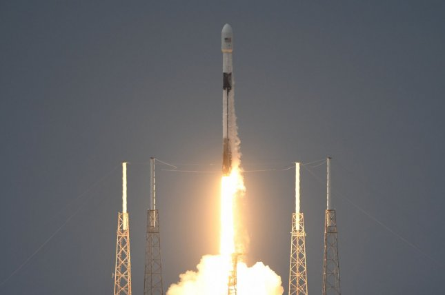 A SpaceX Falcon 9 rocket lifts off from Cape Canaveral Air Force Station in Florida on Sunday evening, carrying an Earth observation satellite, SAOCOM 1B, for the Argentine space agency. Photo by Joe Marino/UPI