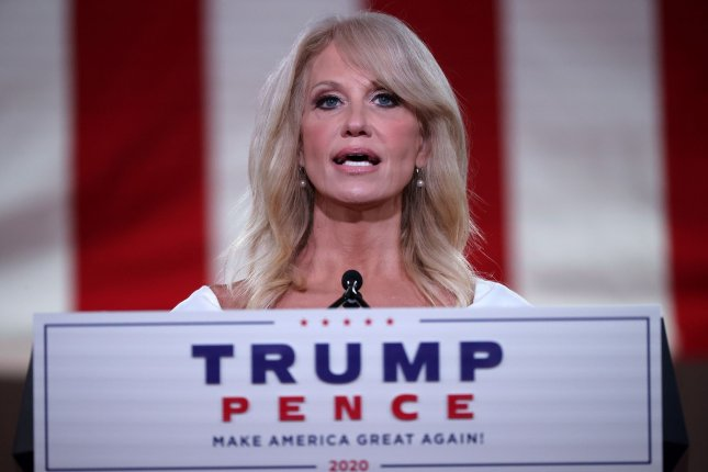 Kellyanne Conway, the former White House counselor to then-President Donald Trump, told the Biden administration on Wednesday that she would not resign from her position on the Board of Visitors to the U.S. Air Force Academy after she was among the 18 Trump appiontees asked to step down. FilePool Photo by Chip Somodevilla/UPI