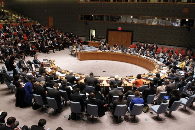 The UN Security Council chamber is filled during a meeting on the situation in the Ukraine at the United Nation headquarters in New York City on March 3, 2014. UPI/Paulo Filgueiras/HO