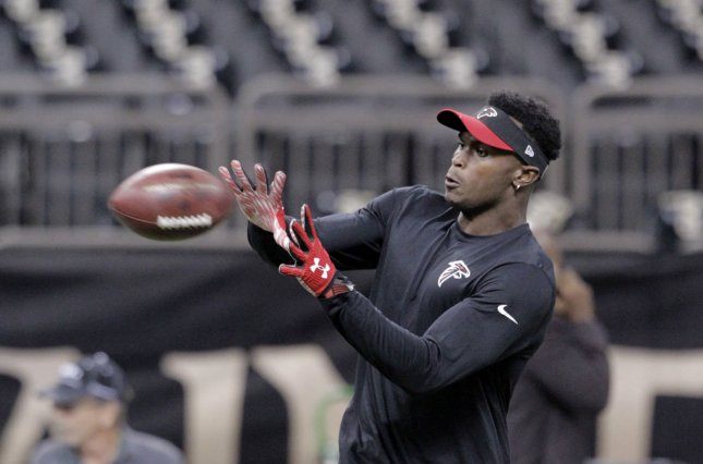 Atlanta Falcons star wide receiver Julio Jones was held out of practice today with a turf toe injury. Photo by AJ Sisco/UPI