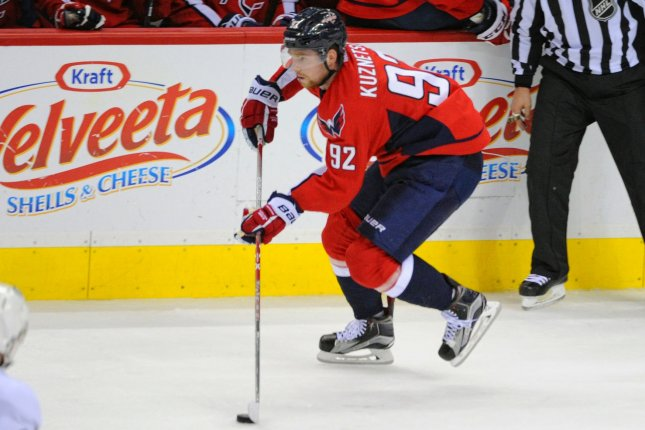 Evgeny Kuznetsov scored a pair of goals as the Washington Capitals headed into the All-Star break with a 5-2 victory over the New Jersey Devils on Thursday night at the Prudential Center. File Photo by Mark Goldman/UPI