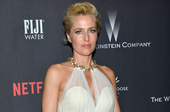 Gillian Anderson arrives at the Weinstein Company and Netflix 2017 Golden Globes after party in Beverly Hills on January 8. The actress' TV show The X-Files will return with fresh episodes in 2017-18. File Photo by Christine Chew/UPI