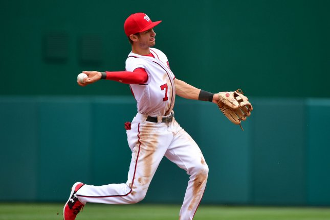 Washington Nationals shortstop Trea Turner (7) fields a ball against the Miami Marlins in the second inning of their season opener at Nationals Park in Washington, D.C. on April 3, 2017. File photo by Kevin Dietsch/UPI