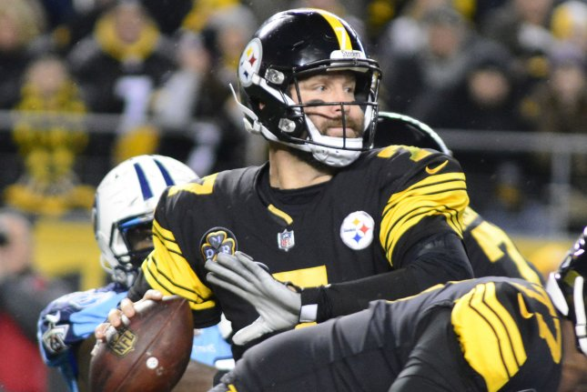 Pittsburgh Steelers quarterback Ben Roethlisberger (7) steps back to pass in the first quarter against the Tennessee Titans at Heinz Field in Pittsburgh on November 16, 2017. File photo by Archie Carpenter/UPI