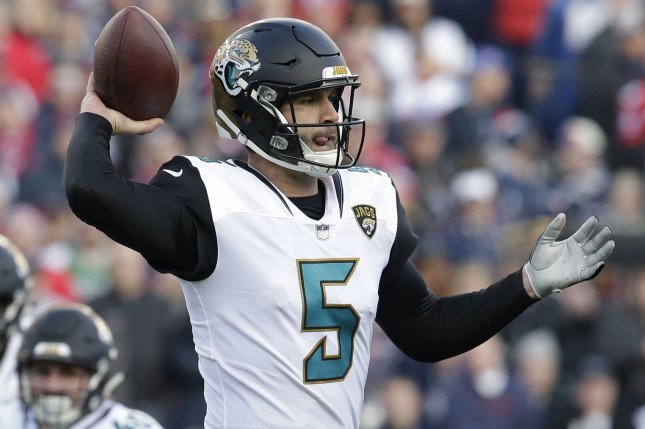 Jacksonville Jaguars quarterback Blake Bortles throws against the New England Patriots in the second quarter of the AFC Championship game on January 21 at Gillette Stadium in Foxborough, Mass. Photo by John Angelillo/ UPI