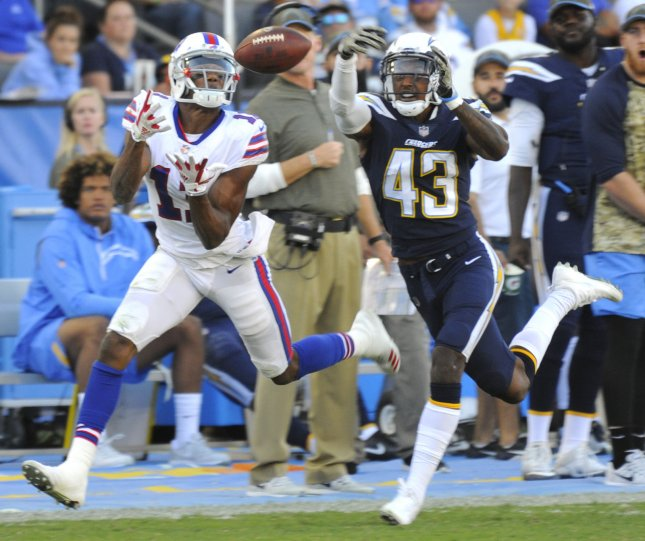 Buffalo Bills receiver Zay Jones attempts to haul in a pass in front of Los Angeles Chargers defensive back Michael Davis during their game in November. Photo by Lori Shepler/UPI