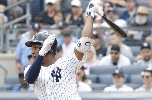 Miguel Andujar and the New York Yankees face the Toronto Blue Jays on Friday. Photo by John Angelillo/UPI