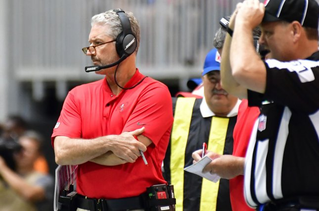 Tampa Bay Buccaneers coach Dirk Koetter looks on during a game against the Atlanta Falcons on October 14, 2018. Photo by David Tulis/UPI