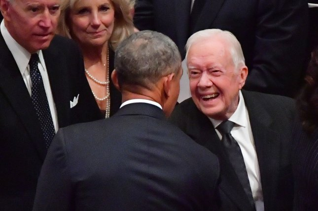 Former President Jimmy Carter (R) has offered to travel to North Korea, according to a U.S. lawmaker. File Photo by Kevin Dietsch/UPI