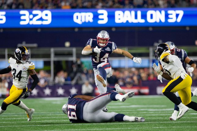 New England Patriots running back Rex Burkhead (34) was ruled out for Thursday's game against the New York Giants due to a foot injury. File Photo by Matthew Healey/UPI