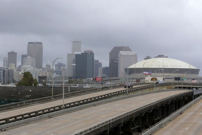 Interstate 10 in New Orleans is seen nearly empty as Hurricane Zeta approaches the area on October 28, 2020. File Photo by AJ Sisco/UPI