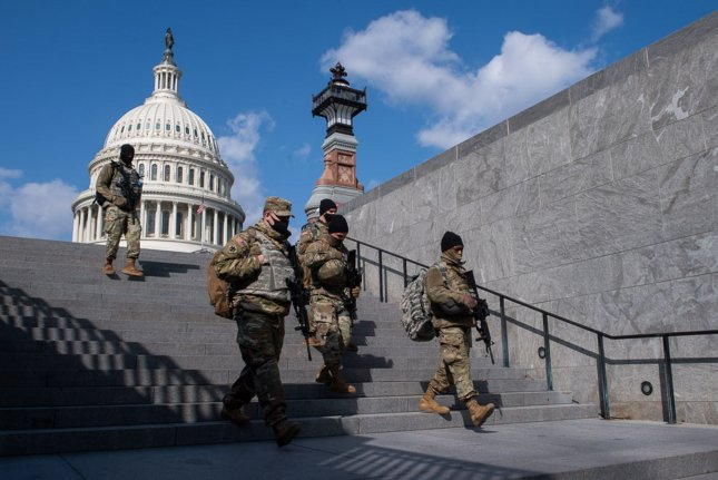 On Wednesday, two members of Congress questioned the need for a National Guard quick reaction force to protect the Capitol and its surrounding complex of office buildings. File Photo by Kevin Dietsch/UPI